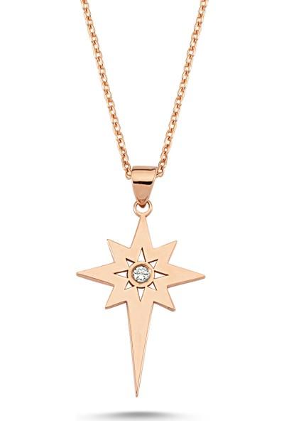 Arev Diamond Pırlanta Taşlı Rose Altın Kutup Yıldızı Kolye GR02162