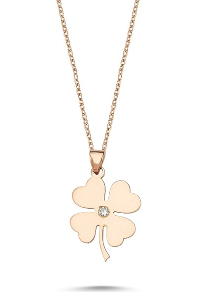 Arev Diamond Pırlanta Taşlı Rose Altın Yonca Kolye GR02151