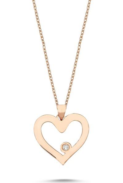 Arev Diamond Pırlanta Taşlı Rose Altın Kalp Kolye GR02153