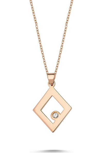Arev Diamond Pırlanta Taşlı Rose Altın Karo Kolye GR02149