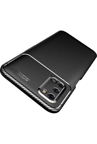 Case 4U Oppo A52 - A72 Kılıf Karbon Desenli Sert Silikon Arka Kapak Negro + Cam Ekran Koruyucu Kahverengi