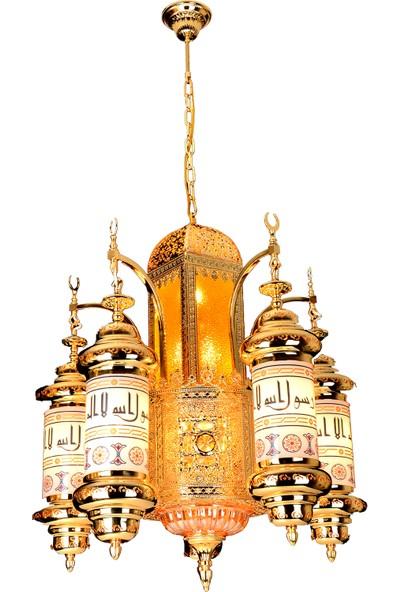 Üstün Avize Medine Model Dekoratif 5 Kollu Cami Avizesi 70 cm