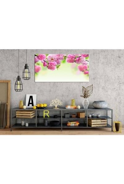 Zelyum Koyu Pembe Çiçek Panoramik Kanvas Tablo