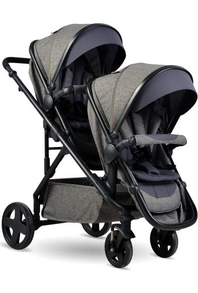 BabyHope Escape Travel İkiz Bebek Arabası Gri