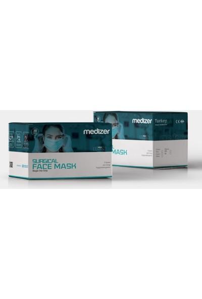 Medizer Full Ultrasonik Cerrahi Ağız Maskesi 3 Katlı Spunbond Kumaş 100 Adet - Burun Telli - Siyah