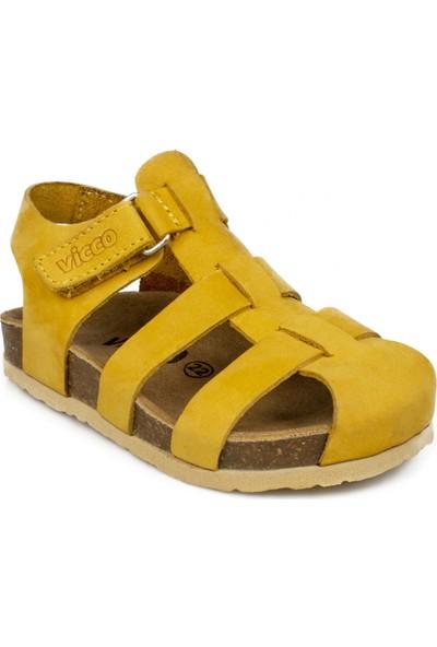 Vicco 905.18Y.328 Bebe Deri Sarı Çocuk Sandalet