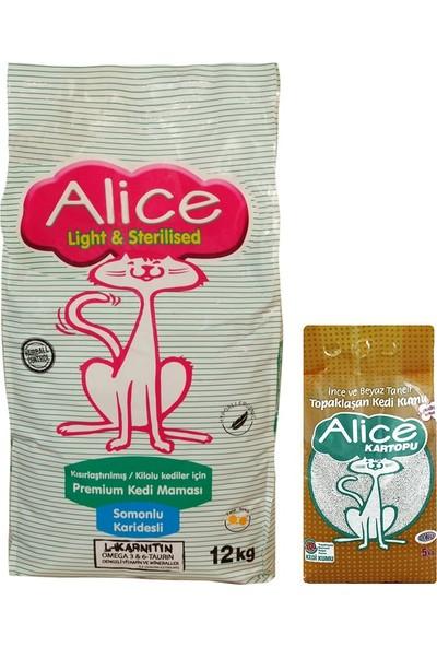Alice Light & Sterilised 12 Kg (Kısır ve Kilolu Kedilere Özel) + Alice Kartopu 5 Kg Hediyeli
