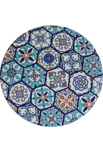 Arasta Life Style Arasta Ece Çaplı Silindir Kısa Ayak Puf Tabure Tiled Desen