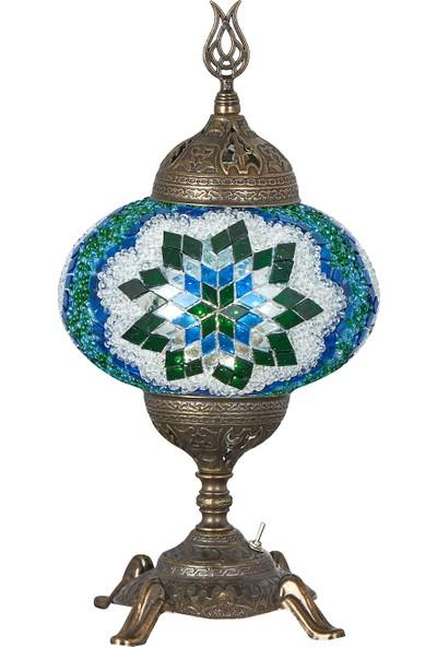 Demmex Pilli Masaüstü Mozaik Çalışma Masası Abajur Gece Lambası Dekor Lamba