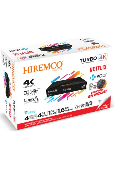 Hiremco Turbo 4K Linux OTT + 4K Uydu Alıcısı