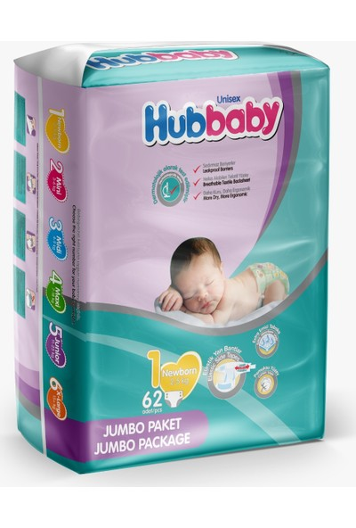 Hubbaby Yeni Doğan (Newborn) Jumbo Paket 1 Numara Bebek Bezi 2-5 kg 62'li