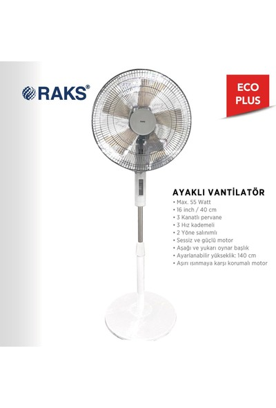 Raks Eco Plus 16 Ayaklı Vantilatör