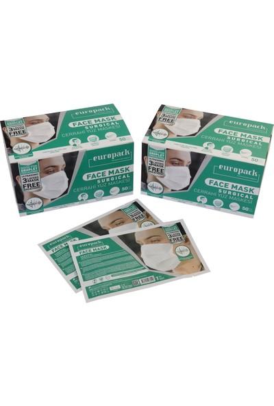 Europack Full Ultrasonik Tek Tek Paketli Premium Telli Maske 50'li 2 Adet