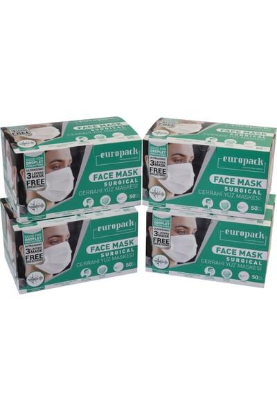 Europack Full Ultrasonik Tek Tek Paketli Premium Telli Maske 50'li 4 Kutu