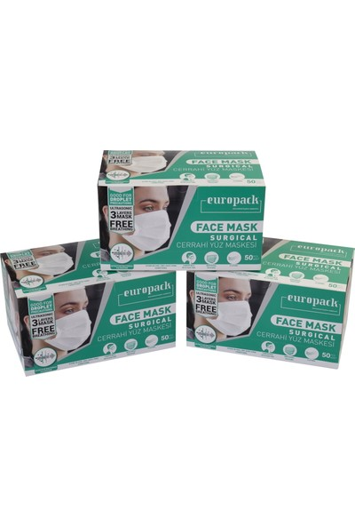 Europack Full Ultrasonik Tek Tek Paketli Premium Telli Maske 50'li 3 Kutu