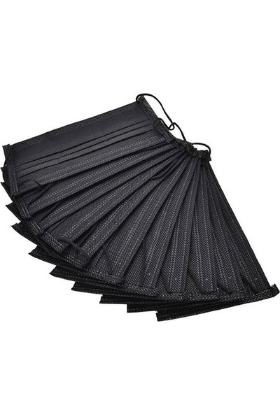 Mask Siyah Tek Kullanımlık 3 Katlı Telli Cerrahi Maske 50'li x 2 Adet