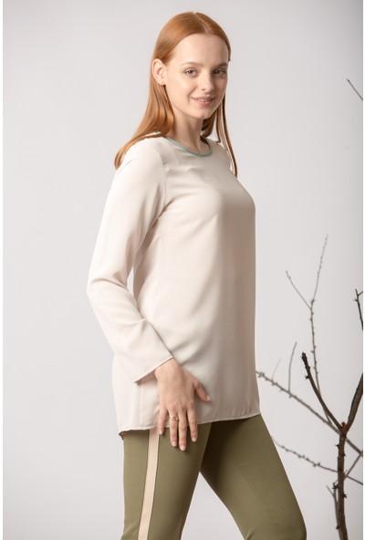 Repp Yaka Kısmı Yeşil Bluz - Bej