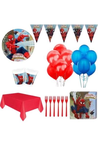 Pembe Mavi Örümcek Adam Spiderman Doğum Günü Parti Seti 8 Kişilik