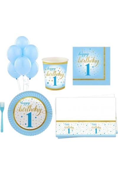 Pembe Mavi Erkek 1 Yaş Doğum Günü Parti Süsü