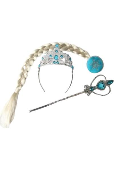 Pembe Mavi Frozen Elsa Karlar Ülkesi Taç Asa Seti