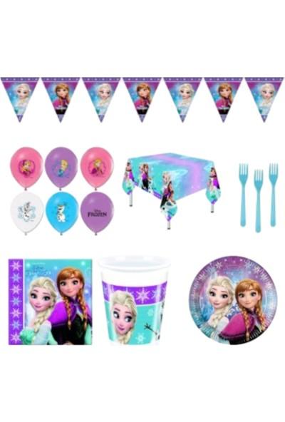 Pembe Mavi Karlar Ülkesi Elsa Frozen Doğum Günü Parti Seti 8'li