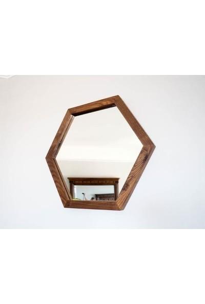Emek Bilişim Dekoratif Altıgen Model Yakma Eskitme Ayna 35 x 30 cm