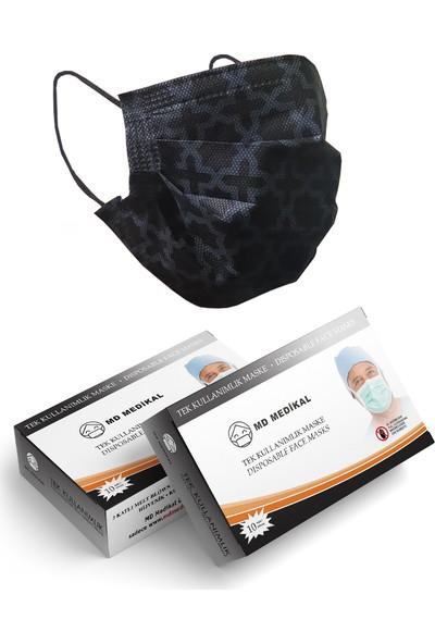 Md Medikal Tek Kullanımlık 3 Katlı Burun Telli Siyah Desenli Cerrahi Maske 10'lu x 10 Adet