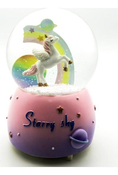 Mankan Unicorn Gökyüzü Işıklı Müzikli Kar Küresi