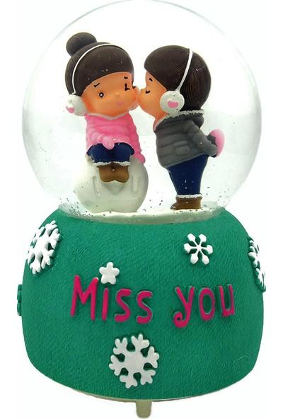 Mankan Miss You Romantik Kurmalı Kar Küresi Müzik Kutusu