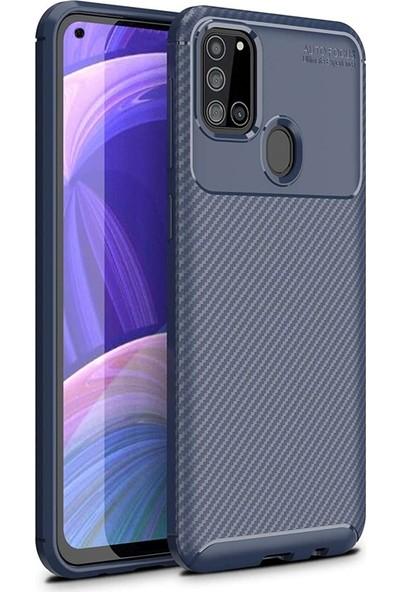 Gpack Samsung Galaxy A21s Kılıf Negro Karbon Silikon+Nano Glass Lacivert