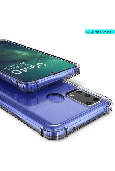Gpack Samsung Galaxy M31 Kılıf AntiShock Sert Kapak+Nano Glass Şeffaf