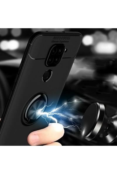 Gpack Xiaomi Redmi Note 9 Kılıf Ravel Silikon Yüzüklü Mıknatıslı+Nano Glass Siyah