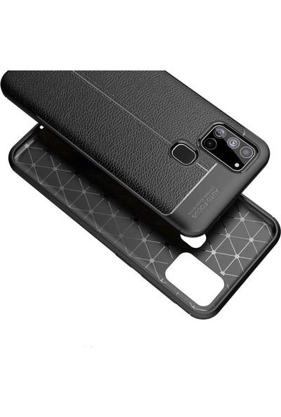 Gpack Samsung Galaxy A21s Kılıf Niss Silikon Deri Görünümlü Siyah