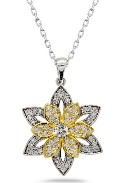 Else Silver Taşlı Çiçek Modeli Gümüş Kolye