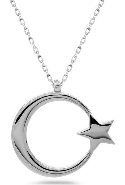 Else Silver Ay Yıldız Gümüş Kolye