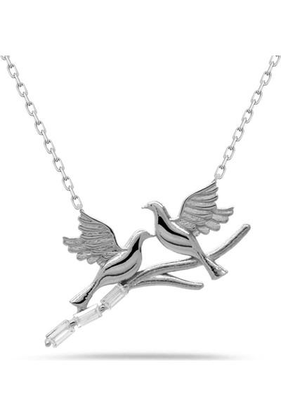 Else Silver Kuş Modeli Baget Taşlı Gümüş Kolye