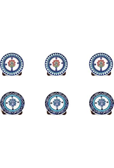 Tuluat Art Gallery Özel Tasarım El Işleme Kullanılabilir Kütahya Çinisi Pasta Tabağı 6 Lı Takım