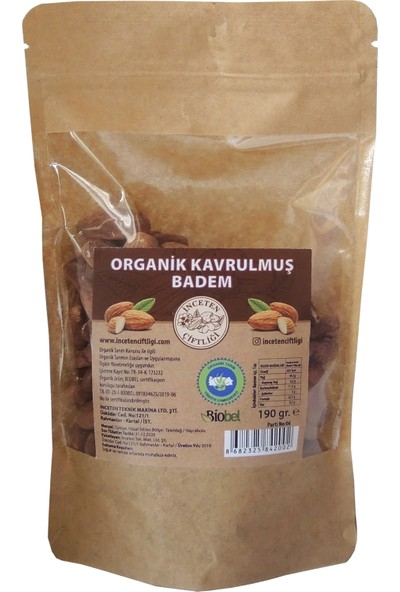 İnceten Çiftliği Organik Sertifikalı Yerli Organik Kavrulmuş Badem 190 gr