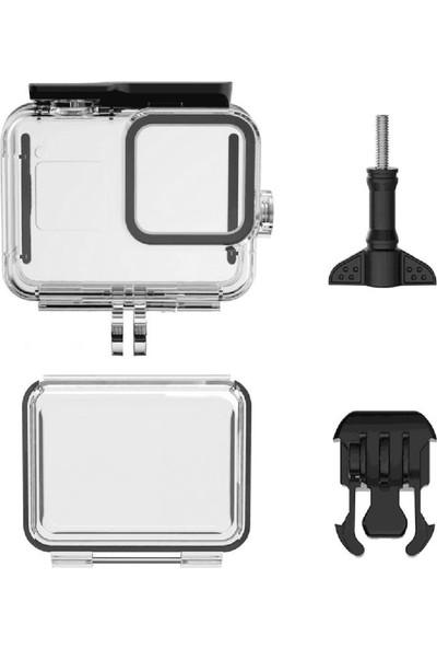 Gopro Hero 8 Black Housing Su Geçirmez Kılıf+Dokunmatik Arka Kapak+12 Adet Buğu Önleyici Strip