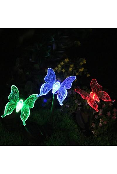 Bimbambom Solar Bahçe Lambası Kelebek 7702,Renkli Dekoratif Bahçe Aydınlatma