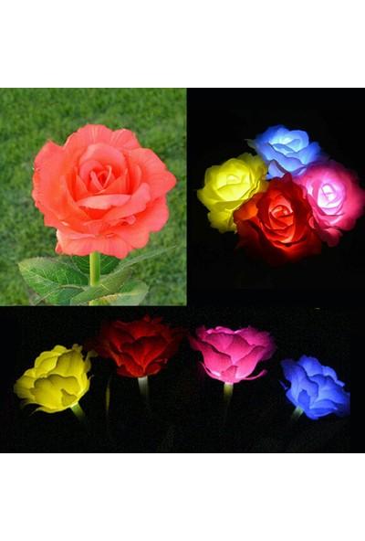 Bimbambom Solar Bahçe Lambası Kırmızı Gül 7905 1Dal, Dekoratif Bahçe Aydınlatma