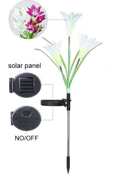 Bimbambom Solar Bahçe Lambası Zambak 7906 3Dal, 2Adet, Dekoratif Bahçe Aydınlatma