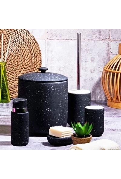 Kosova Kitchen World Bny-306 5 Parça Simli Seramik Banyo Seti Granit Mat Siyah