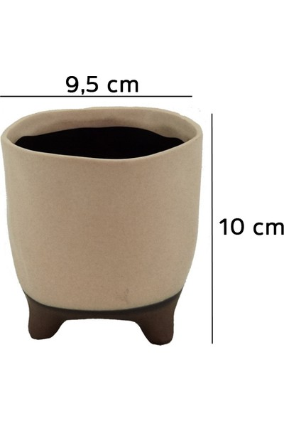 Kutukutucicek Ayaklı Çift Renk Seramik Saksı 9,5X10 Cm