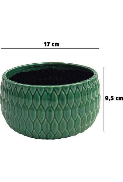 Kutukutucicek Yeşil Renk Damla Desenli Seramik Saksı 17X9,5 Cm