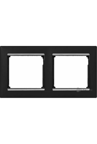 Legrand Valena Siyah/Gümüş Bantlı Yatay İkili Çerçeve 3245067703922