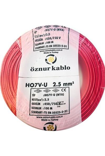 Öznur 2,5 Mm Nya Kablo - 100 Metre Kırmızı