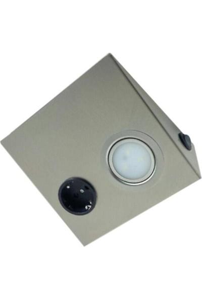 Yiğitled Dolap Altı Paslanmaz Prizli Spot 3W Led 220V Beyaz
