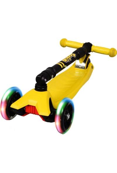 Rookie 3 Tekerlekli LED Işıklı Ayarlanabilir Katlanabilir Maxi Scooter - Sarı