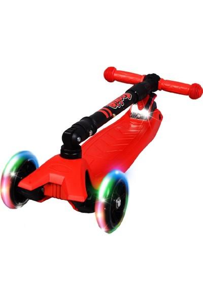 Rookie 3 Tekerlekli LED Işıklı Ayarlanabilir Katlanabilir Maxi Scooter - Kırmızı
